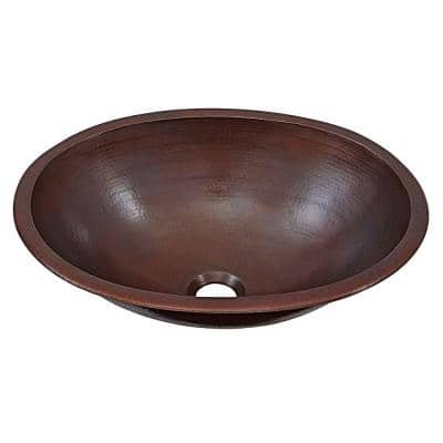 Schrodinger 17 in. Undermount or Drop-In Solid Copper Bathroom Sink in Aged Copper