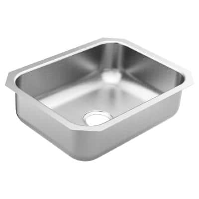 1800 Series Stainless Steel 23.5 in. Single Bowl Undermount Kitchen Sink with 7 in. Depth