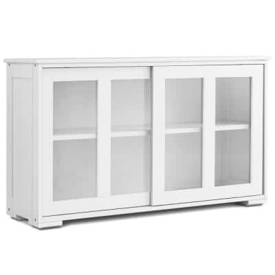 1-Piece White Storage Cabinet Sideboard Buffet Cupboard Upholstery Sectional