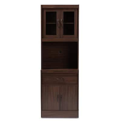 Laurana Walnut Brown Kitchen Cabinet with Hutch