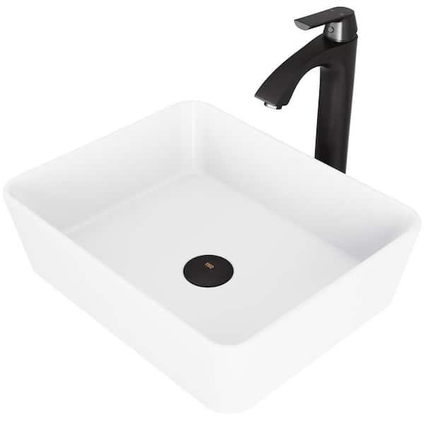 Vigo Matte Stone Marigold Composite, Rectangular Vessel Bathroom Sink