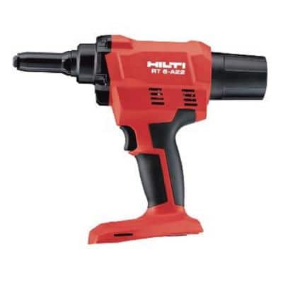 RT 6 22-Volt Lithium-Ion Cordless LED Rivet Tool with 4 Nose Pieces (No Battery)