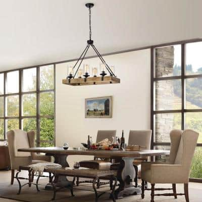 6-Light Matte Black and Vintage Wood Farmhouse Linear Chandelier with Clear Glass