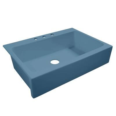 Josephine Quick-Fit Drop-in Farmhouse Fireclay 33.85 in. 3-Hole Single Bowl Kitchen Sink in Oceanside Matte Blue
