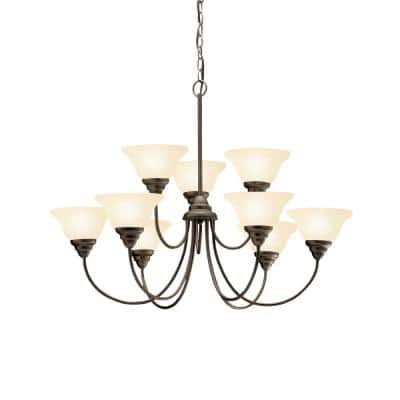 Telford 9-Light Olde Bronze 2 Tier Chandelier with Umber Etched Glass Shade