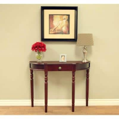 36 in. Dark Walnut Standard Half Moon Wood Console Table with Drawers