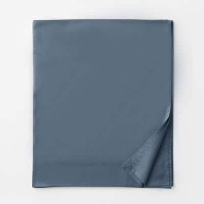 Legends Luxury Solid Mirage Blue 500-Thread Count Cotton Sateen King Flat Sheet