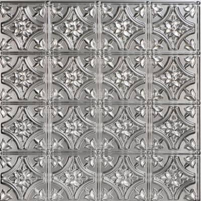 Gothic Reams 2 ft. x 2 ft. Glue Up PVC Ceiling Tile in Silver
