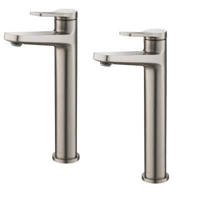 Indy Single Hole Single-Handle Vessel Bathroom Faucet in Spot Free Stainless Steel (2-Pack)