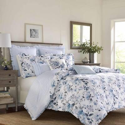 Chloe 3-Piece Blue Floral Cotton Full/Queen Comforter Set