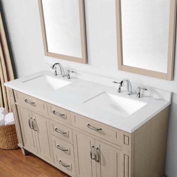 Martha Stewart Living Thornfield 60 In Bath Vanity White Washed Maple With Cultured Marble Top Basin 15vva Thor60 11 The Home Depot