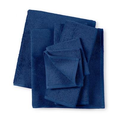 6-Piece Blue Solid Cotton Bath Towel Set