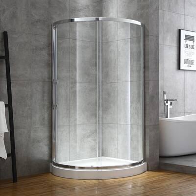 Maia 36 in. x 72.80 in. Semi-Frameless Sliding Corner Shower Door in Chrome with 36 in. x 36 in. Base in White