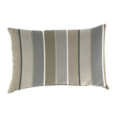 Sunbrella 9 in. x 22 in. Milano Charcoal Lumbar Outdoor Pillow