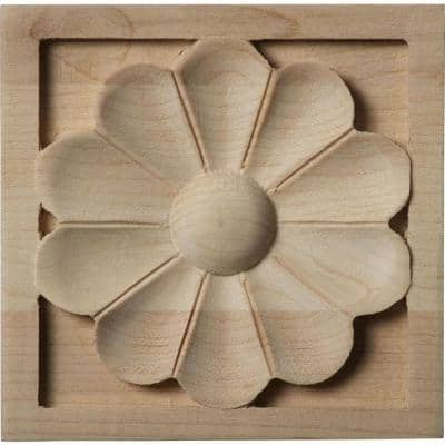 3/4 in. x 3-1/2 in. x 3-1/2 in. Unfinished Wood Cherry Medium Medway Rosette