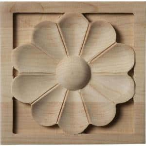 3/4 in. x 3-1/2 in. x 3-1/2 in. Unfinished Wood Maple Medium Medway Rosette