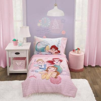 Princess Always Be Bold 4Piece Toddler Bed Sheet Set with Comforter, Pillowcase, Bottom and Flat Top Sheets in Polyester