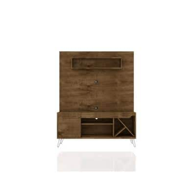 Baxter 54 in. Rustic Brown Composite Entertainment Center Fits TVs Up to 55 in. with Wall Panel