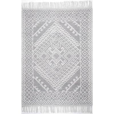 Tenley Textured Greek Emblems Gray 5 ft. x 8 ft. Area Rug