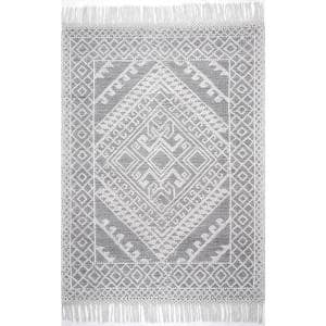 Tenley Textured Greek Emblems Gray 8 ft. x 10 ft. Area Rug