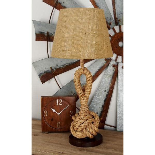 Litton Lane 28 In Brown Lighting Table Lamps Coastal Knotted Abaca Rope Table Lamp 67700 The Home Depot