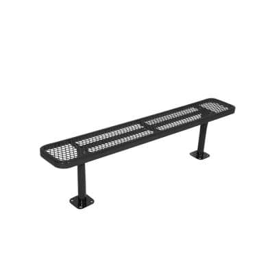 Surface Mount 6 ft. Black Diamond Commercial Park Bench without Back