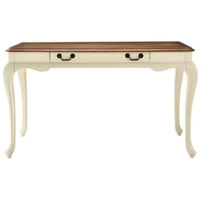 Provence ivory writing Desk with Ash Brown Top 54 in.