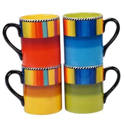 Sierra 4-Piece Seasonal Multicolored Earthenware 16 oz. Mug Set (Service for 4)