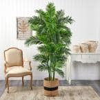 6 ft. Green Curvy Parlor Artificial Palm Tree in Handmade Natural Cotton Planter