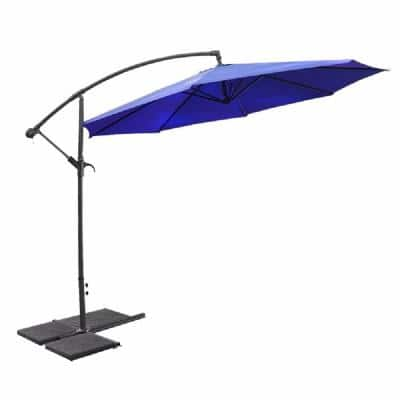 10 ft. Round Offset Outdoor Patio Cantilever Umbrella in Blue