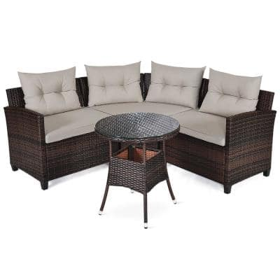 Dark Brown 4-Piece Metal Wicker Outdoor Sectional Set with Grey Cushions