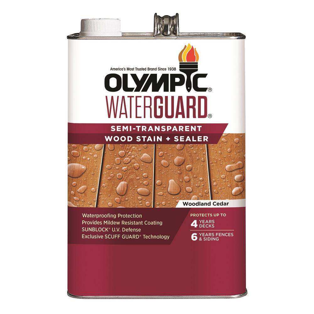 WaterGuard 1 gal. Woodland Cedar Semi-Transparent Wood Stain and Sealer