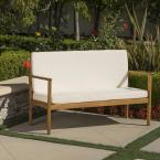 Luciano Brown Patina Wood Outdoor Bench with Cream Cushion