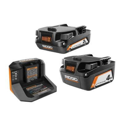 18V Lithium-Ion (1) 4.0 Ah Battery, (1) 2.0 Ah Battery, and 18V Charger