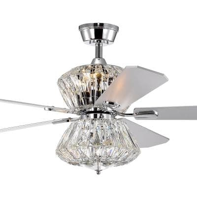 Cynthia 52 in. Indoor Chrome Ceiling Fan with Light and Remote Control