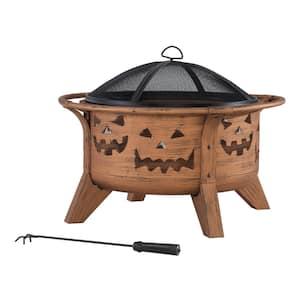Ambercove 30 In. Outdoor Steel Jack-O-Lantern Motif Round Wood Burning Firepit