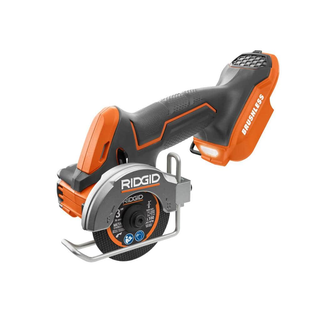 RIDGID 18-Volt SubCompact Lithium-Ion Cordless Brushless 3 in. Multi-Material Saw (Tool Only) with (3) Cutting Wheels
