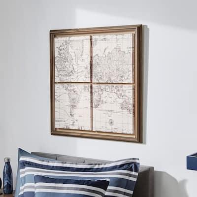 Dark Wood Framed World Map Print Wall Art 29 in. x 29 in.