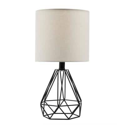 18 in. Black Table Lamp with Hollowed Out Base