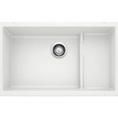 PRECIS CASCADE Undermount Granite Composite 29 in. Single Bowl Kitchen Sink with Mesh Colander in White