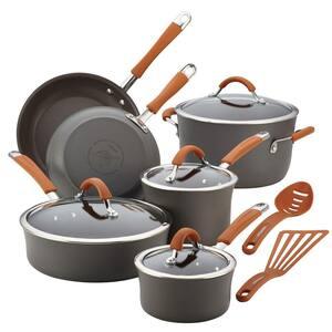 Cucina 12-Piece Hard-Anodized Aluminum Nonstick Cookware Set in Pumpkin Orange and Gray