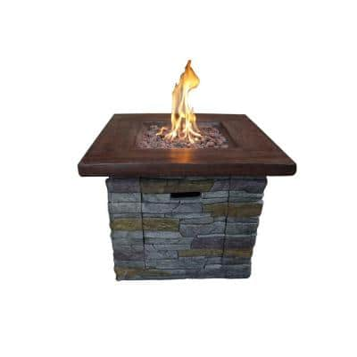 30 in. W x 24 in. H Square Gray and Brown Wood Look Propane Gas Fire Pit with Stone Cladding