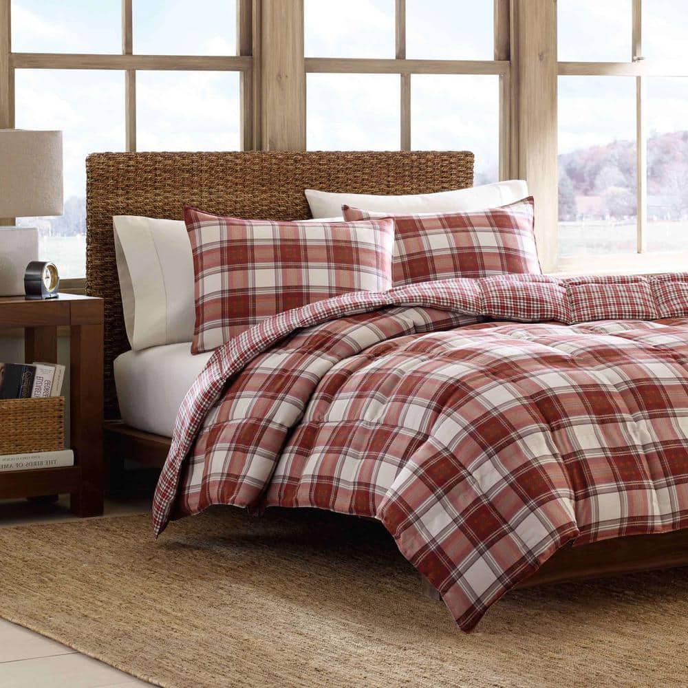 Eddie Bauer Edgewood 3 Piece Red Plaid Micro Suede King Comforter Set 201340 The Home Depot
