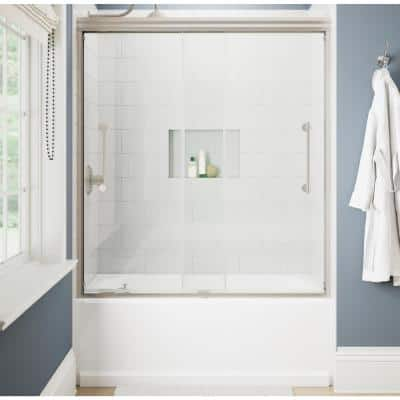 Ashmore 60 in. W x 60-3/8 in. H Sliding Frameless Bathtub Door in Nickel with  5/16 in. (8 mm) Clear Glass