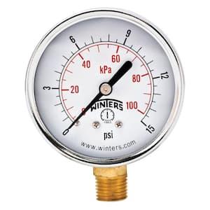 2.5 in. Black Steel Case Brass Internals Pressure Gauge with 1/4 in. NPT Bottom Connection and Range of 0-15 psi/kPa