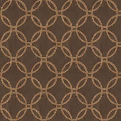 Ecliptic Brown Geometric Strippable Roll Wallpaper (Covers 56 sq. ft.)