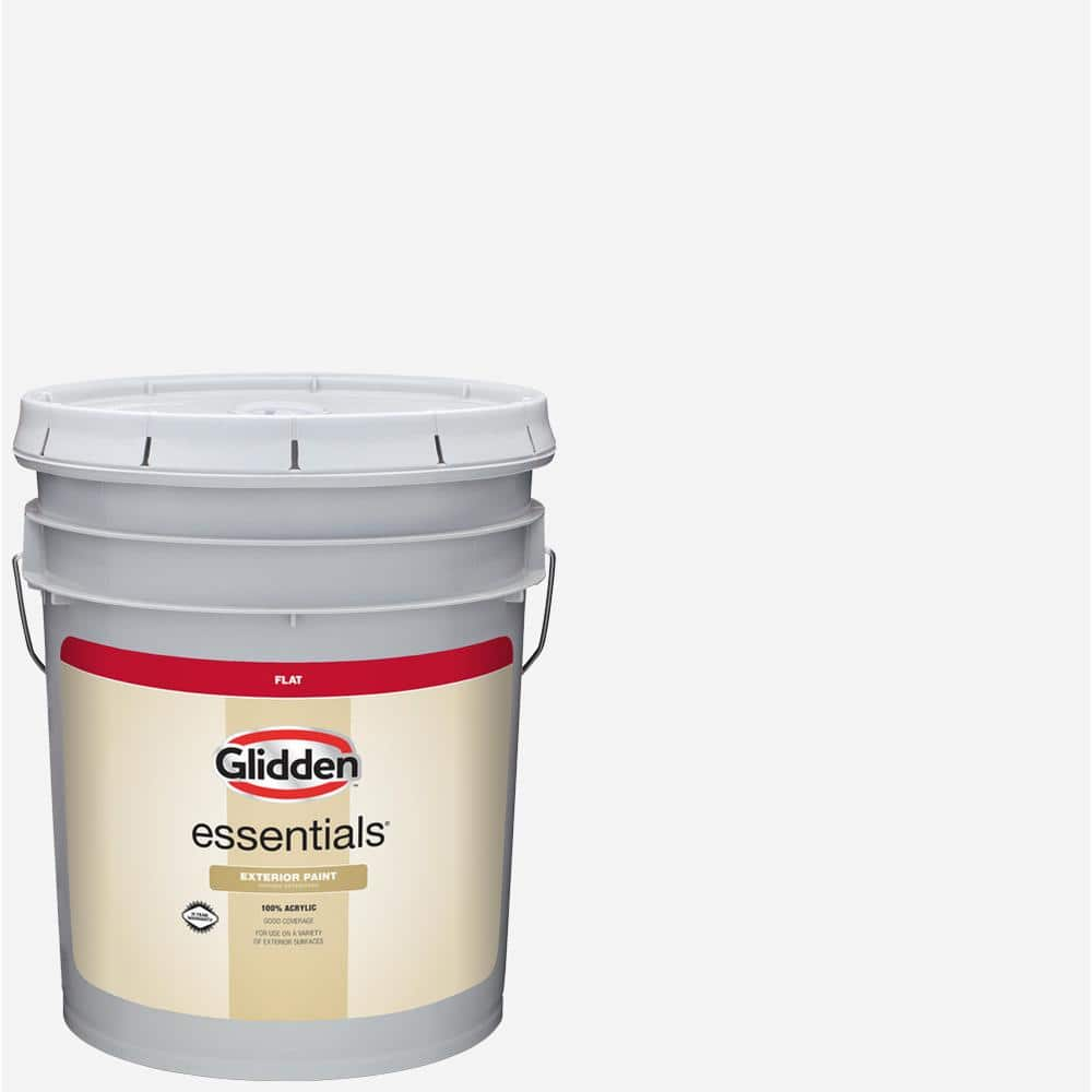 Glidden Essentials 5 Gal White Base 1 Flat Exterior Paint Gle 5011n 05 The Home Depot