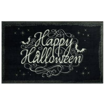Bat Script Black 2 ft. 6 in. x 4 ft. 2 in. Holiday Area Rug