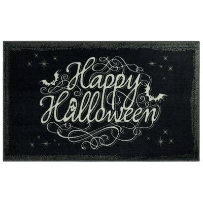 Bat Script Black 2 ft. 6 in. x 4 ft. 2 in. Halloween Indoor Area Rug
