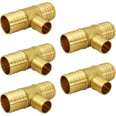 3/4 in. x 3/4 in. x 1/2 in. Brass PEX Barb Reducing Tee Pipe Fittings (5-Pack)